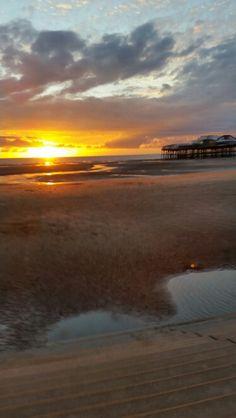 Sunset at Blackpool by North Pier Blackpool Beach, Blackpool Pleasure Beach, Amusement Park, Celestial, Sunset, Outdoor, Memories, Outdoors, Memoirs