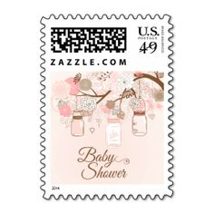 Chic pink mason jar floral baby shower stamps
