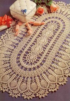 Oval crochet doily More