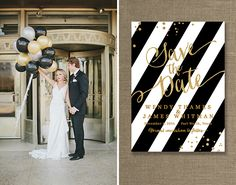 Keep your wedding classic with a black, gold and white color scheme.