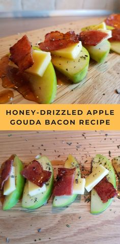 Honey drizzled apple gouda bacon fingers has the taste of sweet apples, creamy goat milk gouda, and the smoky crispy bacon topped with sweet honey and sprinkled with woodsy rosemary. This appetizer/finger food has everything to delight all of your senses. Fall Appetizers, Bacon Appetizers, Finger Food Appetizers, Appetizer Recipes, Appetizers For Dinner Party, Finger Food Recipes, Health Appetizers, Thanksgiving Recipes, Fall Recipes