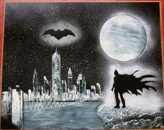 large batman spray paint art batman gifts kids room decor gift for geeks comics by FloralFantasyDreams Gloss Spray Paint, Spray Painting, Decor Room, Wall Art Decor, Batman Painting, Batman Gifts, Superhero Wall Art, Batman Poster, Kids Room Paint