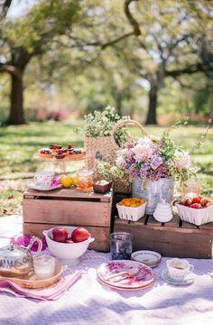 Bridal Shower Picnic Idea {Courtesy of Gal Meets Glam} Beach Picnic, Summer Picnic, Garden Picnic, Ideas Sorpresa, Picnic Time, Picnic Parties, Outdoor Parties, Tea Parties, Outdoor Entertaining