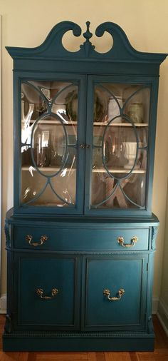 Vintage 1940's China Cabinet Hand Painted Pick Up Only by ColorfulHomeDesigns on Etsy https://www.etsy.com/listing/271142502/vintage-1940s-china-cabinet-hand-painted
