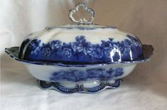 Flow Blue China Covered Casserole Dish w Roses & Gilt