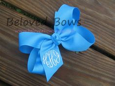 Custom Boutique Monogrammed Hair Bow--Personalized---Birthday Bow---Great Gift---Formal Font on Etsy, $7.95