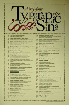 The famous Typographic Sins poster by Jim Godfrey.  I curse the typing teacher that taught me to use to use two spaces between sentences, indent the first paragraph, and use 5 spaces as the tab before each paragraph.