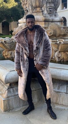 "Men's Faux Fur Chinchilla Desert Warrior Coat in ""Amorak"" and ""Phoenix"" for Burning Man"
