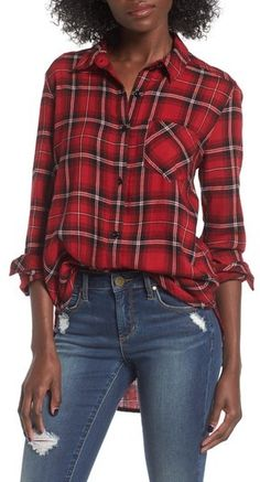 Women's Bp. Plaid Cotton Blend Shirt This plaid button-front shirt may look like you stole it from his closet, but the perfectly relaxed fit makes it all yours. Brand: BP. Style Name:Bp. Plaid Cotton Blend Shirt. Avail in blue, green, ivory and red