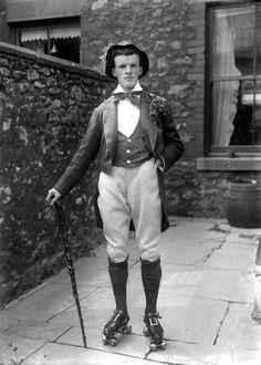 """weirdvintage: """"Leprechaun on roller skates, 1930s (via Vintage Photo LJ) """""""