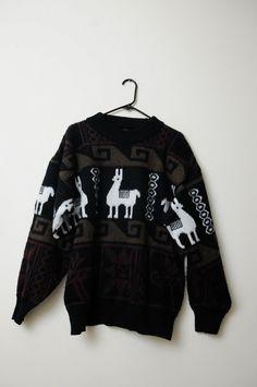 Amazing Unisex Vintage Llama Tribal Ethnic Wool Sweater From Ecuador