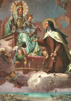 Santa Teresinha do Menino Jesus e Nossa Senhora do Carmo :: A Spanish holy card of Our Lady of Mount Carmel and St Therese of Lisieux. Religious Pictures, Religious Icons, Religious Art, Sainte Therese De Lisieux, Ste Therese, Blessed Mother Mary, Blessed Virgin Mary, Catholic Art, Catholic Saints