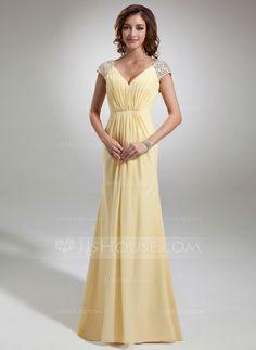 A-Line/Princess V-neck Sweep Train Chiffon Evening Dress With Ruffle Beading (017020987)