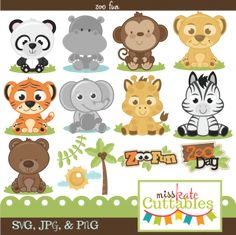 Miss Kate Cuttables Zoo Fun Bundle SVG files for scrapbooking free svg files for cutting machines free svg files Clipart Baby, Baby Svg, Cute Clipart, Baby Wild Animals, Jungle Animals, The Zoo, Animal Art Projects, Baby Shower Niño, Baby Clip Art