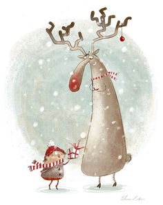 Merry Xmas Reindeer! by Susan Batori, via Behance