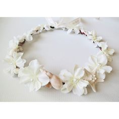 Mermaid's Dream Bridal Crown-Beach Wedding Crown- Beach Wedding Hair... ($68) ❤ liked on Polyvore featuring accessories, hair accessories, bridal hair accessories, bridal crown, floral garland, seashell garland and bridal floral crown