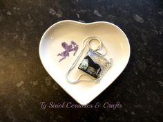 White heart trinket dish with purple fairy by TySiriolCeramics on Etsy https://www.etsy.com/listing/201924881/white-heart-trinket-dish-with-purple