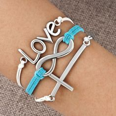 Bracelets - infinity bracelet sideways cross love blue braided leather rope bangle Image.