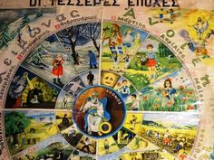 The four seasons old greek school poster Nostalgia 70s, Old Greek, School Posters, Four Seasons, Greece, The Past, Memories, Retro, Painting