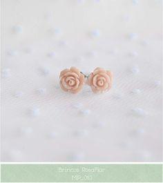Bijuteria e Artesanato Urbano: Brincos Rosa Flor    :: Blooming Rose Studs ::