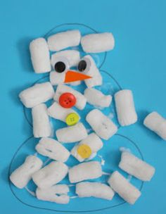 Packing Peanut Snowmen via Toddler Approved Winter Crafts For Toddlers, Toddler Crafts, Preschool Winter, Toddler Play, Craft Activities For Kids, Preschool Crafts, Kids Crafts, Winter Fun, Winter Theme