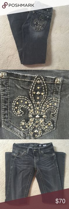 """Miss Me jeans Black miss me jeans. Only worn a few times. Rhinestone and stud detail on back pockets. THESE ARE HEMMED. inseam is 29"""" Miss Me Jeans Boot Cut"""