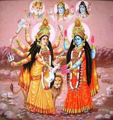 Durga traditionally holds the weapons of various male gods of Hindu mythology Maa Kali Images, Shiva Parvati Images, Durga Images, Shiva Shakti, Kali Mata, Indian Goddess Kali, Indian Gods, Kali Hindu, Hindu Art