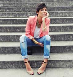 Love this look: coral blazer + gold accessories!