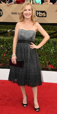 See All the Celebrity Looks from the 2017 SAG Awards Red Carpet - Angela Kinsey from InStyle.com