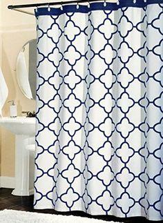 Shower Curtain Kassatex Navy White Seawave Medallion Dark Indigo