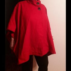 Avenue Red poncho , size 14/16, NWT, price drop Avenue Red poncho , size 14/16, new with tag, bought never worn, color more crimson red, darker than in pictures. due to lighting . It's 62% wool, 38% rayon . Please check the pictures and let me know of any questions Avenue Jackets & Coats
