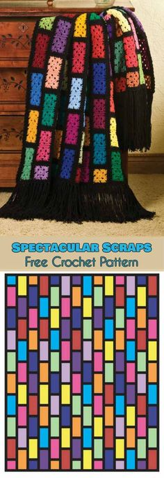 Spectacular Crochet Scraps Free Pattern | Your Crochet #freecrochetpatterns #crochetblanket #grannyrectangle #grannysquare