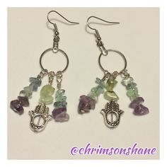 🆕 Amethyst & Fluorite Hamsa Earrings Handcrafted by me these beautiful earrings feature natural fluorite and amethyst gemstones. Hamsa charms are silver tone. All of my handcrafted earrings are one-of-a-kind. Have a nickel allergy? Let me know and I'll be glad to change out the hooks on any of my handcrafted earrings so they are wearable for your sensitive ears. 💗 🌟Top-Rated Seller 📦Fast Shipper 🌟Top 10% Seller 💲Discount on Bundles 💖Free Gift For All Orders $20 & up 🚫No Paypal 🚫No…