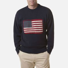 366a4028a89 Castaway Crew Sweater - Nantucket Navy With American Flag