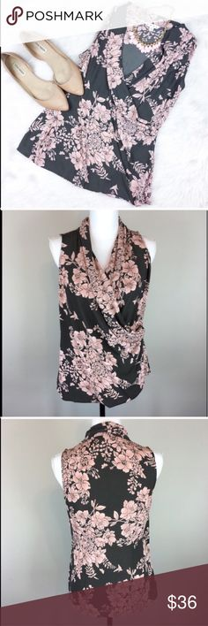 CAbi Floral Sleeveless Faux Wrap Blouse CAbi floral sleeveless faux wrap blouse. Size small. Approximate measurements flat laid are 26' long & 18' bust. EUC with no major flaws or wear. The colors are pink and a greyish brown. I absolutely adorable this beautiful top! ❌No trades ❌ Modeling ❌No PayPal or off Posh transactions ❤️ I 💕Bundles ❤️Reasonable Offers PLEASE ❤️ CAbi Tops Blouses