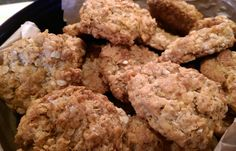 Melt 4 oz marg, 1 teasp bicarb mixed with 2 dessertsp. boiling water, 2 dessertsp. syrup. Then take off heat and add:- 1 cup self raising flour, 1 cup sugar, 1 cup cornflakes, 2 cups porridge oats, pinch salt. Form into balls, cool in fridge for 30 mins. Bake  on greased trays at 175 deg. for c. 12/15 mins.