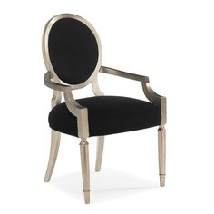 Interior HomeScapes offers the Black Velvet and Silver Leaf Dining Chair by Caracole. Visit our online store to order your Caracole products today. Black Velvet Chair, Black Armchair, Velvet Armchair, Velvet Chairs, Wood Arm Chair, Dining Arm Chair, Upholstered Dining Chairs, Dining Room, Eames Chairs
