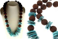 Κολιέ από Τουρκουάζ (Turquoise) και καφέ Λάβα (Lava)