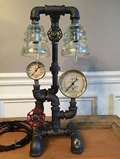 Steampunk Vintage Lamp,  Industrial Art,  Steam Brass Pressure Antique Gauge