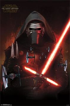 Kylo Ren, Lightsaber and Tie Fighters | Star Wars | The Force Awakens | 22x34 poster - #poster #gift #present #birthday #anniversary #christmas #wall #decor #decoration