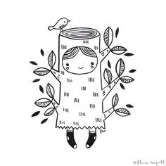 #Inktober Day 19 - I am spending today in my tree stump outfit! xx  #inktober2015 #illustration #ink #blackandwhite #florawaycott #art #drawing #tree #girl