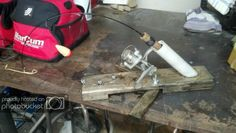 My new homemade rodholders with automatic hooksetting! Ice Fishing Rods, Tip Ups, Homemade, Quiver, Home Made, Hand Made