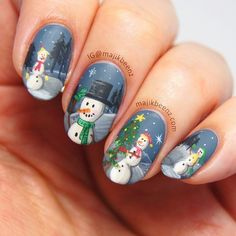 Winter/snowman nails. (by @majikbeenz on IG)