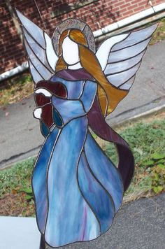 Stained Glass Guardian Angel by StarLiteStainedGlass on Etsy, $65.00