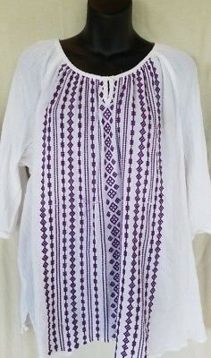 333ef44d858 Catherines Womens plus White top purple embroidery peasant Blouse Size 3X  shirt Used Clothing