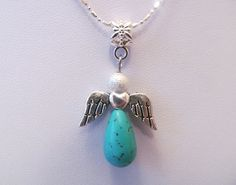Turquoise Guardian Angel by SweetVenomJewels on Etsy, £3.00