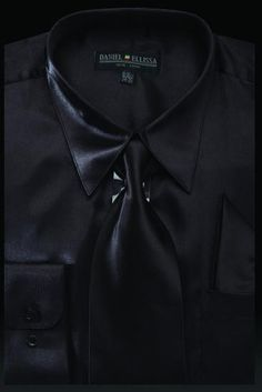 e1e8a21db9749 Men s Black Satin Dress Shirt with Tie   Handkerchief