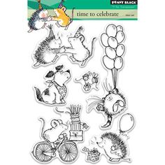 Penny Black Time To Celebrate - Clear Stamp. Penny Black clear stamp featuring a dog, a cat, a mouse, and a hedgehog. Cross Stitch Fabric, Cross Stitch Kits, Penny Black, House Mouse Stamps, Animal Mugs, Wood Stamp, Felt Applique, Needlepoint Kits, Quilt Kits