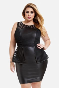 Plus Size Faux Leather And Mesh Peplum Dress