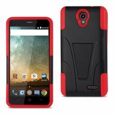 Reiko Zte Prestige/ N9132/ Avid Plus Silicon Case+Protector Case W New Type Kickstand-Red Black